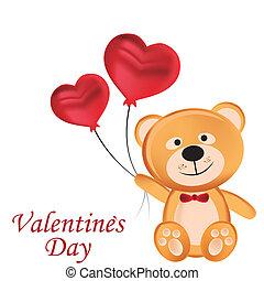 feliz, pelúcia, dia, urso, valentine