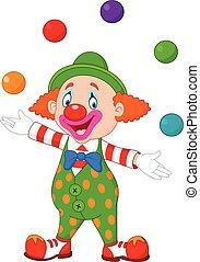 feliz, pelotas, payaso, colorido, malabarismo