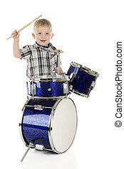 feliz, pequeno, baterista, menino