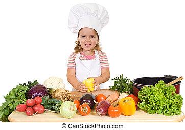feliz, pequeno chefe cozinha, com, legumes