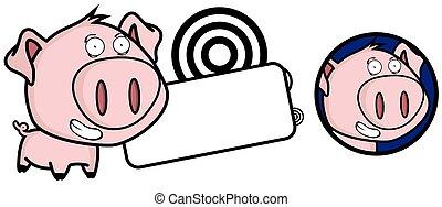feliz, pequeno, porca, cabeça grande, expressão, jogo