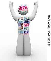 feliz, persona, emtions, actuación, alegría, bueno,...