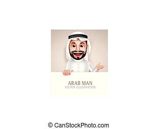 feliz, personagem, árabe, vetorial, tábua, segurando, em branco, homem sorridente, branca, saudita