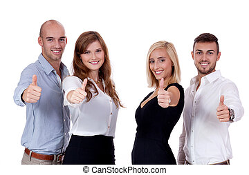 feliz, personas empresa, equipo, agrúpese