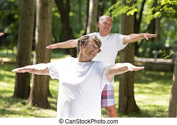 feliz, pessoas anciãs, fazendo, exercícios, ao ar livre