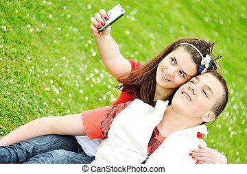 feliz, pessoas, ao ar livre