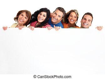 feliz, pessoas, com, banner.