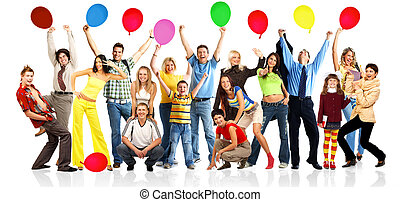 feliz, pessoas, com, bolas