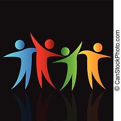 feliz, pessoas, compartilhar, tempo, logotipo