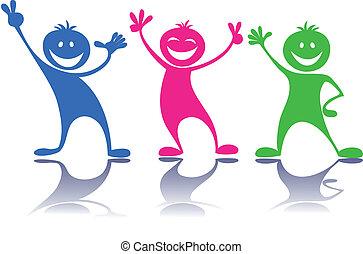 feliz, pessoas, crianças