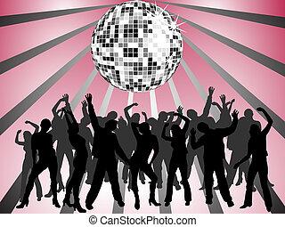 feliz, pessoas, dançar
