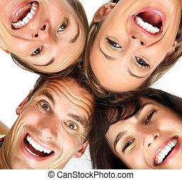 feliz, pessoas, jovem