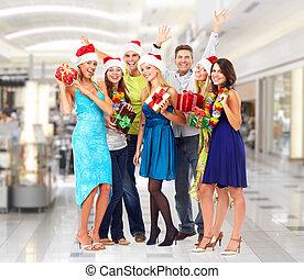 feliz, pessoas, natal, gifts.