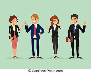 feliz, pessoas negócio, ficar, caricatura, ilustração