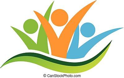 feliz, pessoas negócio, logotipo