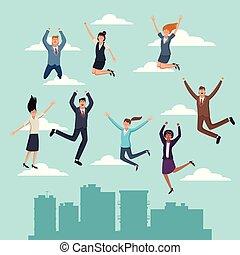 feliz, pessoas negócio, pular