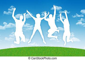 feliz, pessoas pulando, em, alegria, ligado, um, céu azul,...