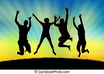 feliz, pessoas pulando, em, alegria, ligado, um, pôr do sol,...