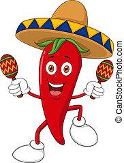 feliz, pimienta chili, bailando, con, estropear