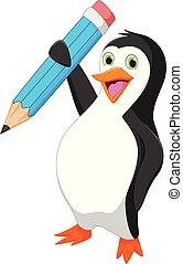 feliz, pingüim, caricatura, segurando, azul, lápis