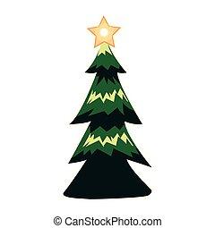 feliz, pinho, natal, desenho, árvore, vetorial
