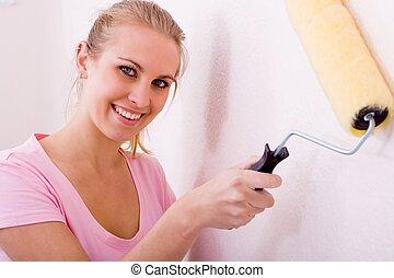 feliz, pintura, mujer