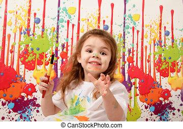 feliz, pintura, niño