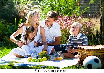 feliz, piquenique, junto, família, tocando