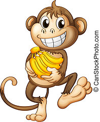 feliz, plátanos, mono