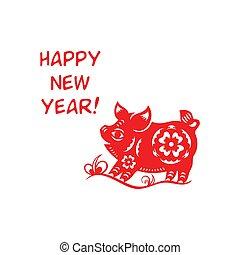 feliz, poco, cerdo, lunar, año
