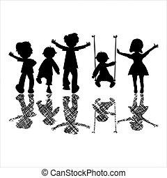 feliz, poco, niños, con, rayado, sombras