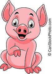 feliz, porca, caricatura, sentando