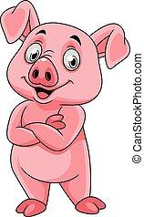 feliz, posar, caricatura, porca
