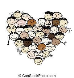 feliz, povos, forma coração, para, seu, desenho