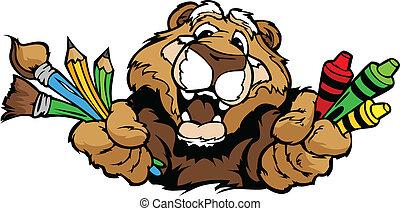 feliz, pré-escolar, puma, mascote, caricatura, vetorial, imagem