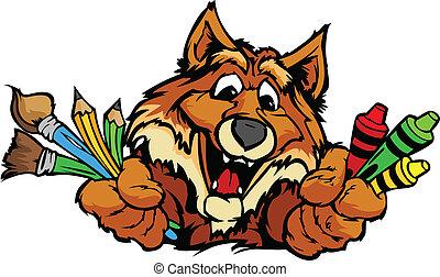 feliz, pré-escolar, raposa, mascote, caricatura, vetorial, imagem