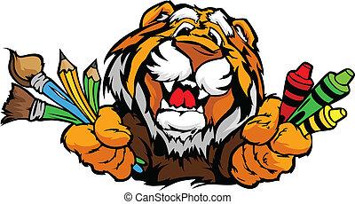feliz, pré-escolar, tiger, mascote, caricatura, vetorial, imagem