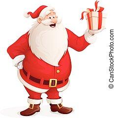 feliz, presente, claus, mão, santa, natal