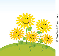 feliz, primavera, girassóis, em, jardim