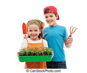feliz, primavera, jardinería, niños