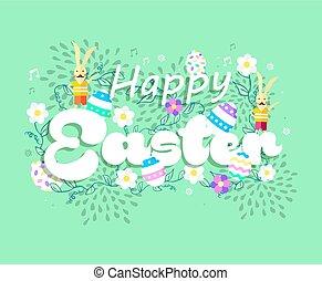 feliz, primavera, pascua, feriado, tarjeta, con, conejito
