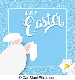 feliz, primavera, tarjeta, con, conejo pascua, huevo