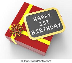 feliz, primeiro aniversário, presente, mostrando, especiais, celebração, ocasião, e, festividade