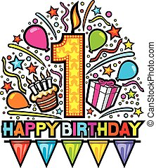 feliz, primer cumpleaños, diseño