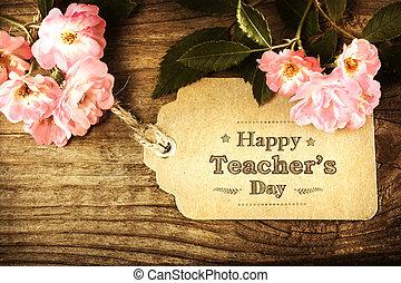 feliz, profesores, día, mensaje, con, rosas rosa