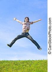 feliz, pular