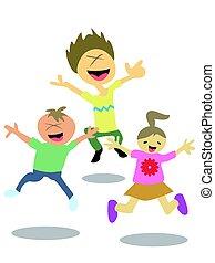 feliz, pular, crianças