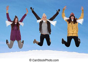 feliz, pular, inverno, mulheres