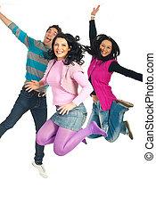 feliz, pular, pessoas