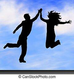 feliz, pular, pessoas, fundo